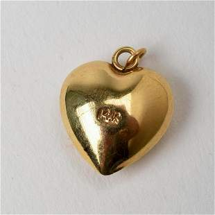 14K Yellow Gold Heart Charm or Pendant.