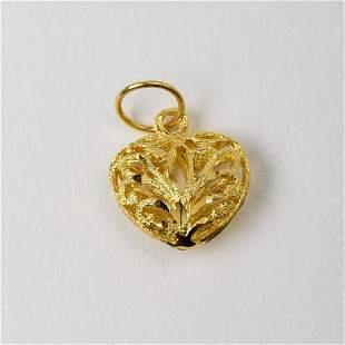 14K Yellow Gold Filigree Heart Charm or Pendant.