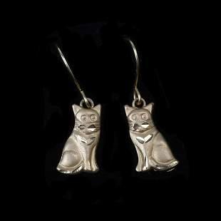 14K Yellow Gold Kitten Dangle Earrings.