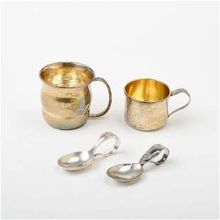 Two Sterling Baby Spoons and Two Cups.