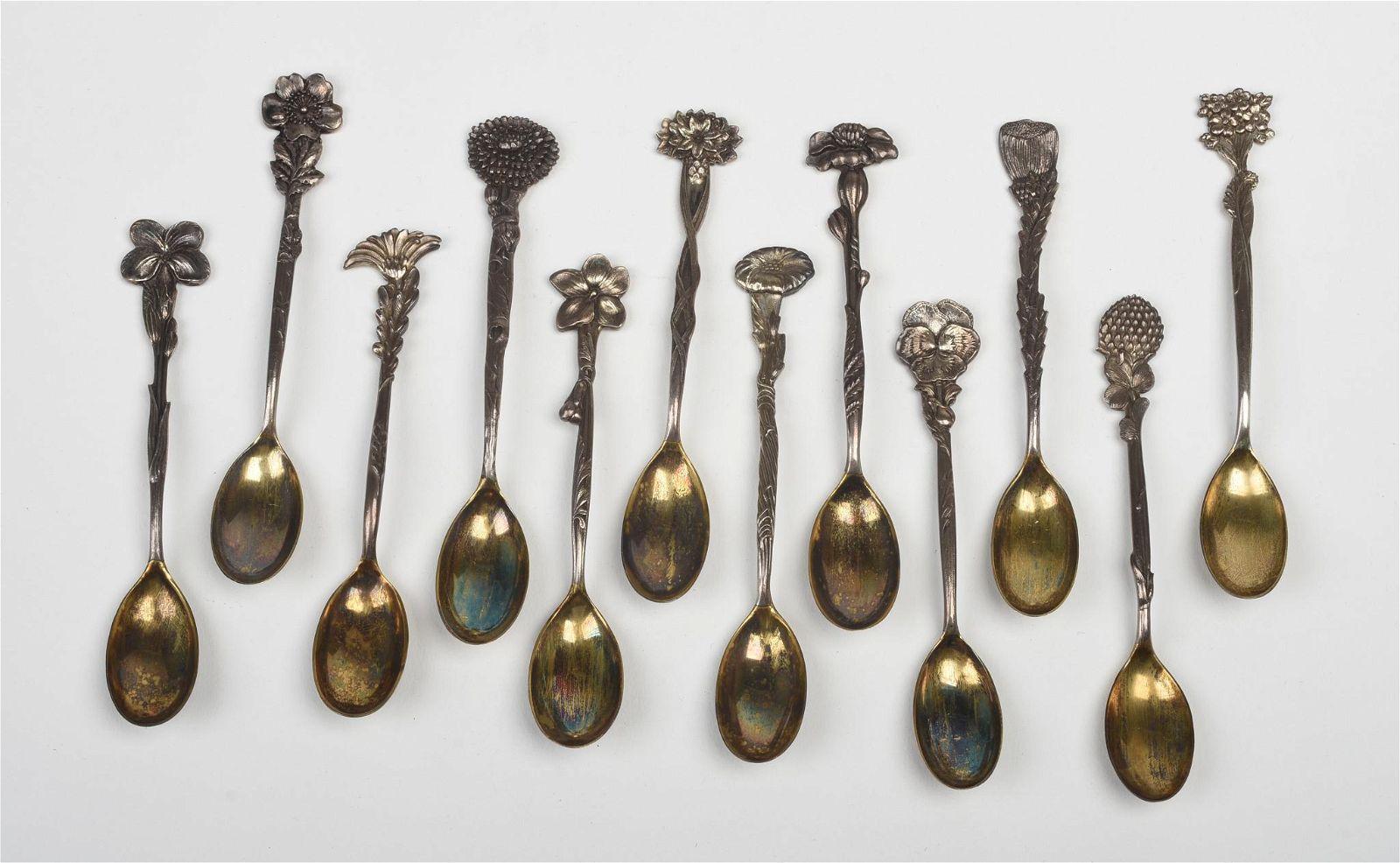 Twelve Tiffany & Co. Sterling Flower Demitasse Set.
