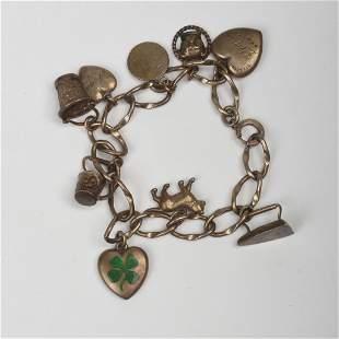 Antique & Vintage Sterling Silver Charm Bracelet Lot.