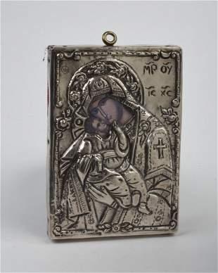.900 Silver Virgin Mary & Baby Jesus Icon.