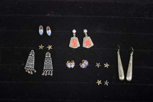 Eight Pairs Sterling Silver Earrings.