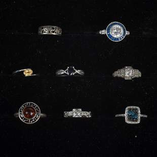 Eight Sterling Silver Rings.