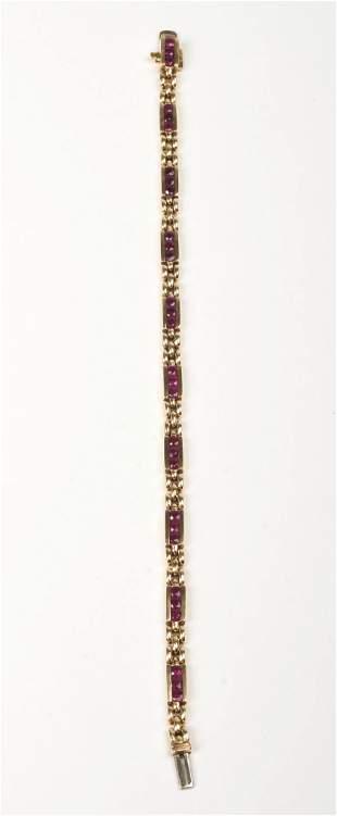 14K Gold and Ruby Panther Link Bracelet.