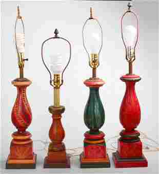 Four Contemporary Grain Painted Table Lamps.
