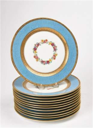 Set of Twelve French Limoges Dinner Plates.