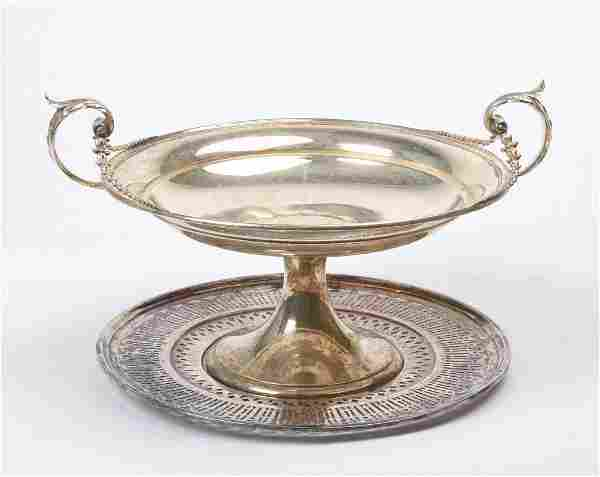 Sterling Silver Reticulated Tazza and Undertray.
