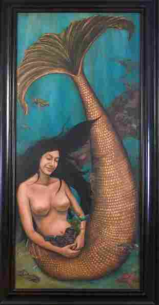 Monumental Size Painting of a Mermaid.