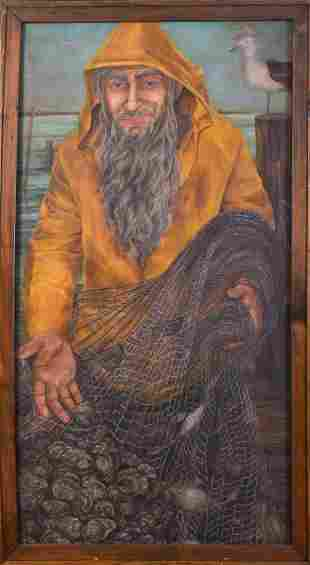 Large Scale Contemporary Portrait of a Fisherman.