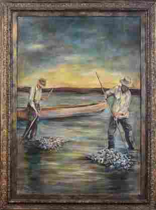 Large Scale Contemporary Painting of Two Clam Diggers.