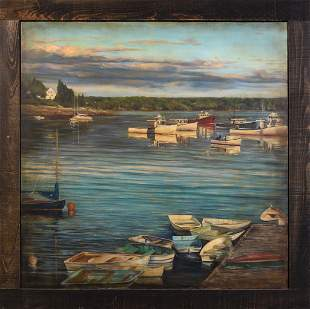Large Scale Contemporary Painting of a Maine Harbor.