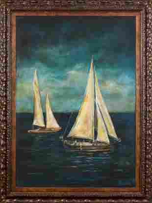 Large Scale Contemporary Painting of Two Sailboats.