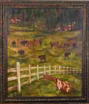 Large Scale Contemporary Print of a Barnyard.