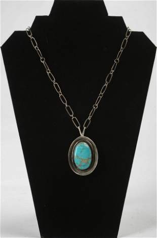 Sterling Turquoise American Indian Necklace.