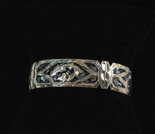 Sterling and Mother of Pearl Inlay Cuff.