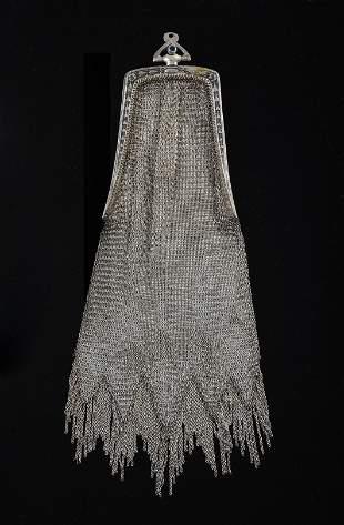 Artdeco Sterling Silver Mesh Handbag.