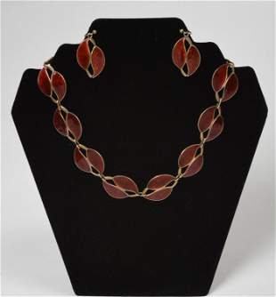 Meka Sterling and Enamel Double Leaf Necklace and