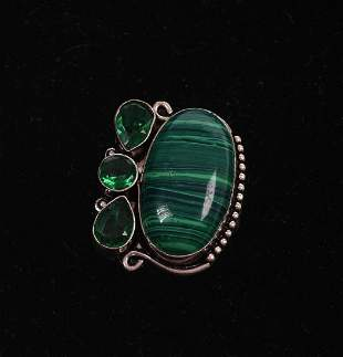 Malachite and Green Stone Sterling Ring.