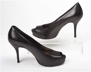 Pair of Gucci Black Leather Platform High Heels.