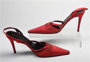 Pair of Red Satin Slingback Escada Heels.