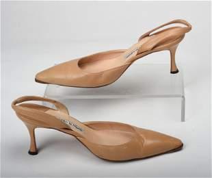 Pair of Tan Manolo Blahnik Low Heels.