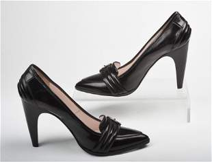 Pair of Black Pattent Leather Emilio Pucci Heels.