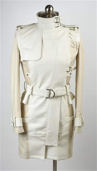 Alexander McQueen Belted Leather and Cotton Jacket