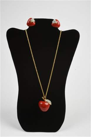 Kenneth J. Lane Apple Necklace and Earrings.