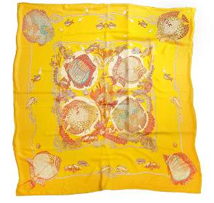 Extra Large Crepe Silk Hermes Scarf with Fish Motif.