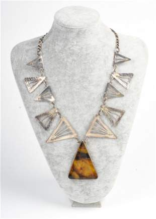 Hammered Sterling Necklace With Amber Pendant.