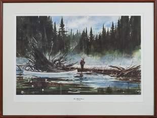 "John Swan ""The White Canoe"" Lithograph (Maine, b."