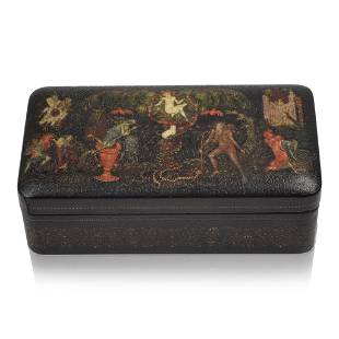 Early Russian Palekh Lacquer Box.