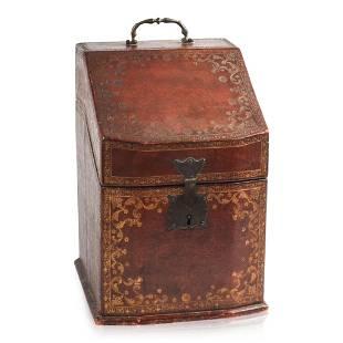 Italian Tooled Leather Desk Box