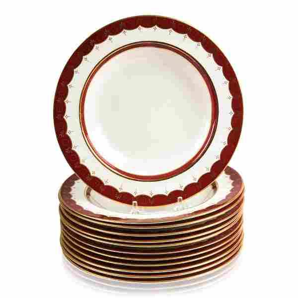 Set of Twelve Cauldon Soup Plates, Early 20th c.