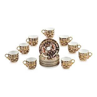 10 Royal Crown Derby Traditional Imari Teacups & Saucer