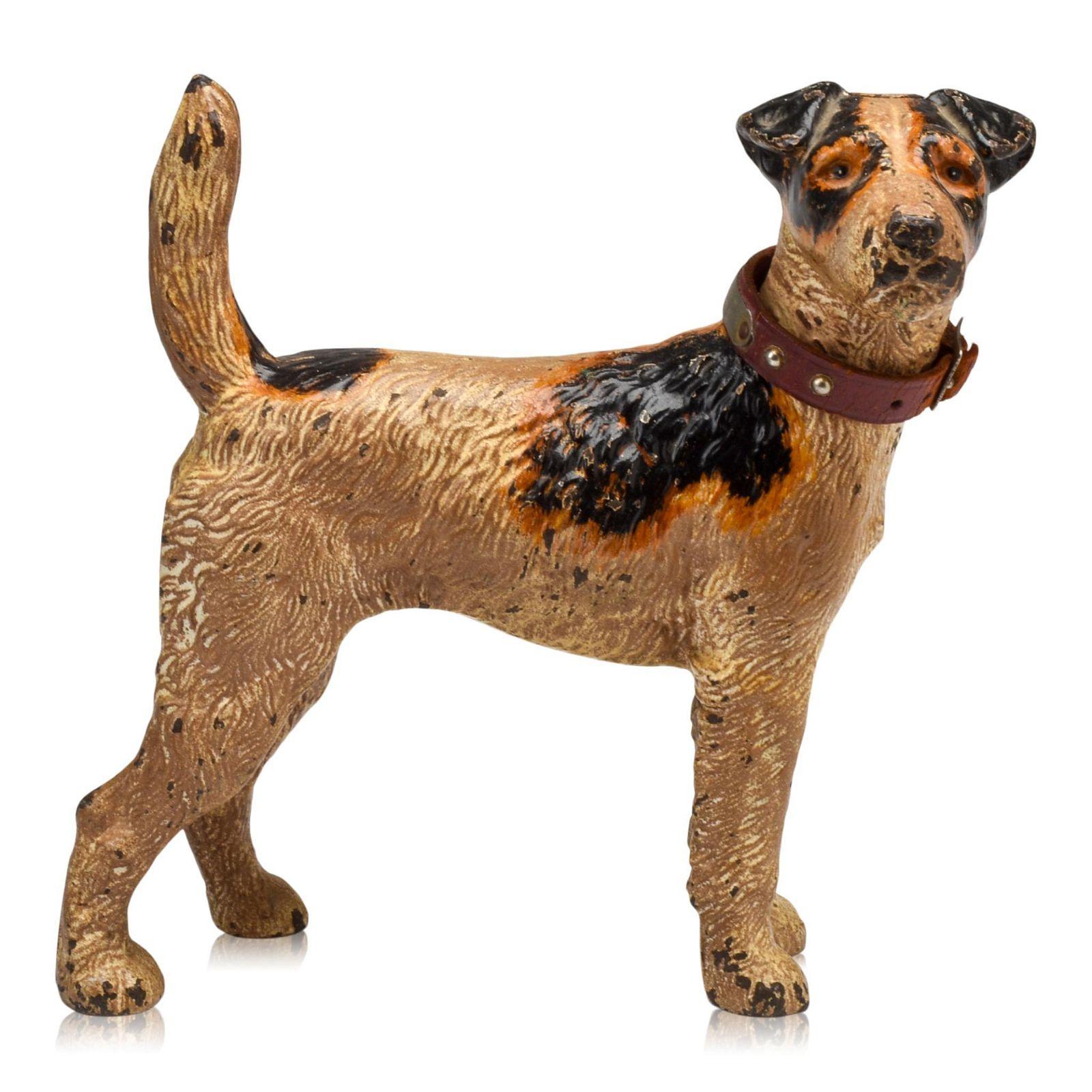 Cast Iron Wirehaired Fox Terrier Dog Doorstop