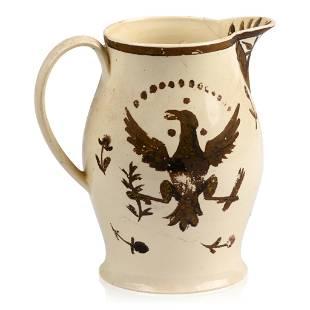 English Creamware Gilt-Decorated Jug for the American