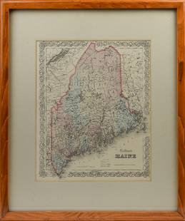 J.H. Colton's Map of Maine, 1855.