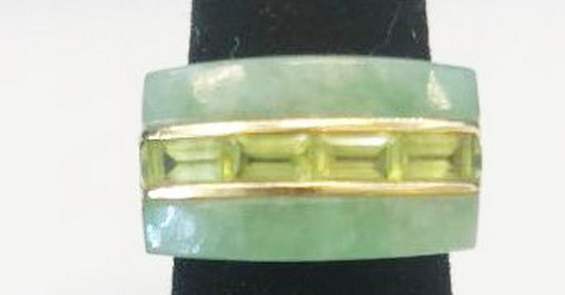 Chinese 14K Gold Green Jadeite Jade Ring
