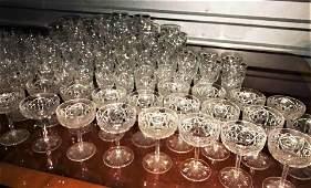 Big Set 111 1920s Baccarat Crystal Glasses Signed