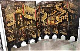 Antique Chinese Coromandel Screen Late 19 Century