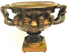 ANTIQUE FRENCH 19thC  BRONZE CENTER PIECE WITH FACES