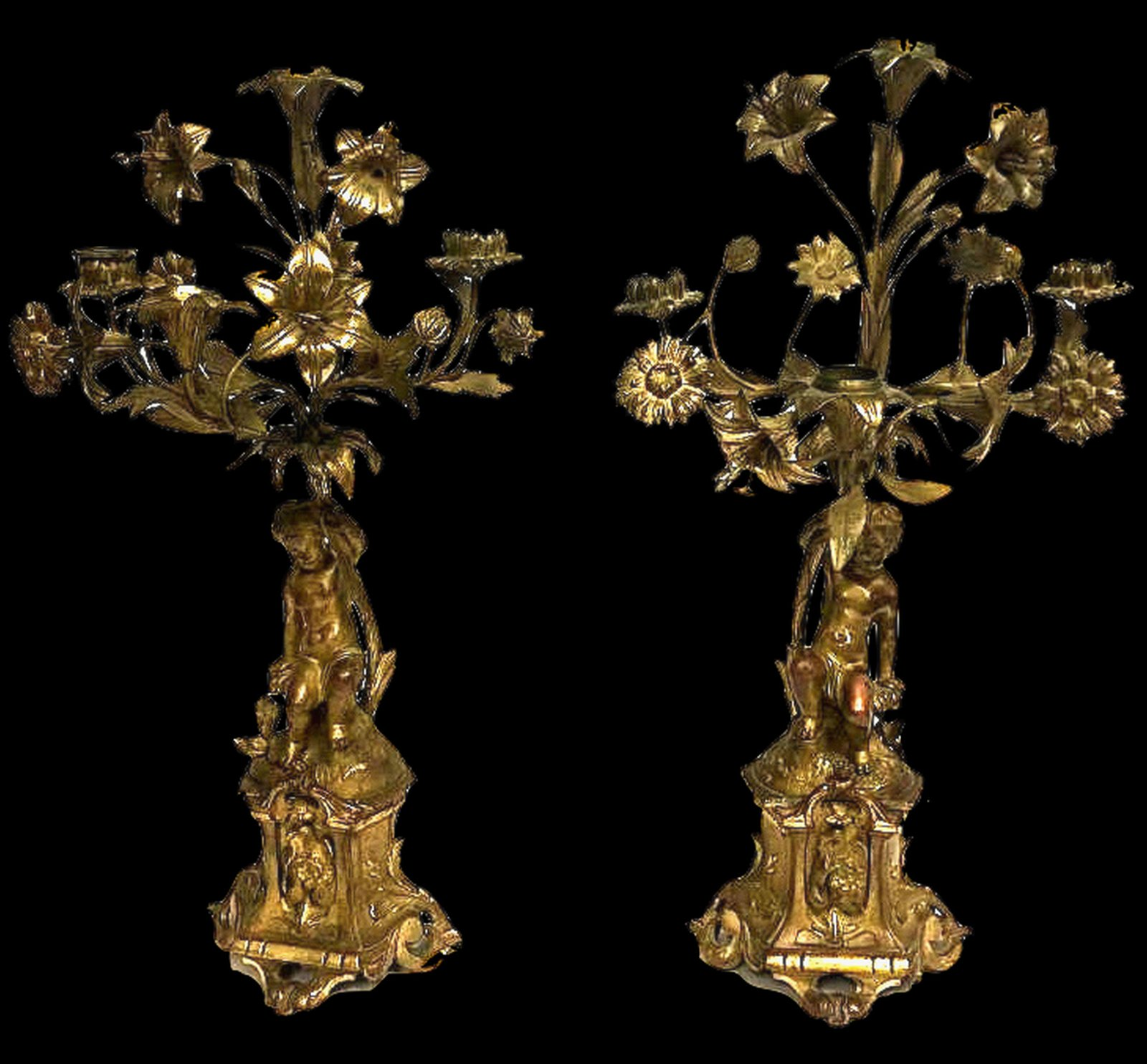 Antique pair Bronze French Candelabra 19th century