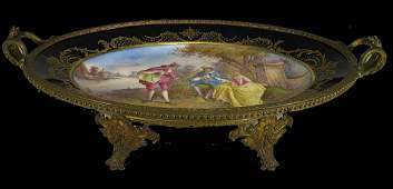 19th C French Sevres bronze & porcelain tray