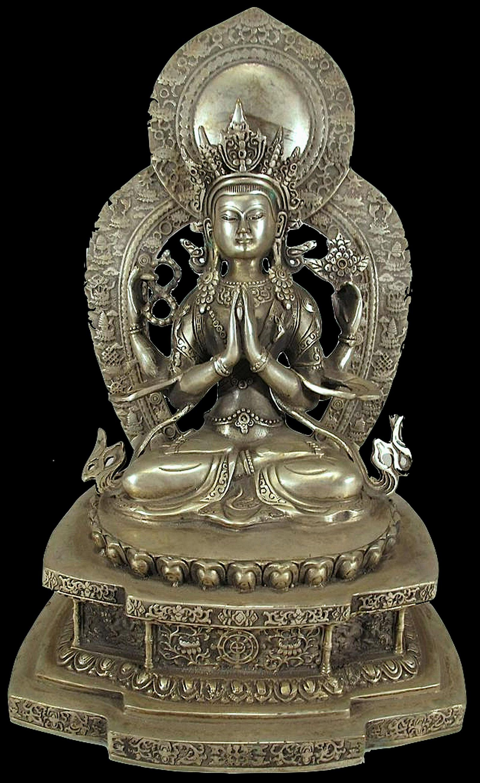 Chinese Buddha silverplated bronze sculpture.