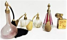 vintage art deco set 5 french perfume bottle