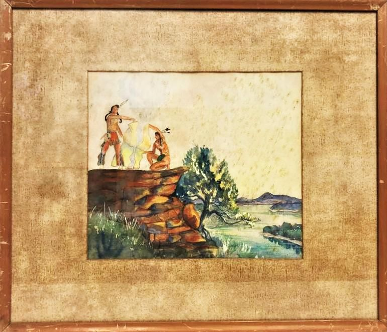 Antique Native american indian watercolor unknown