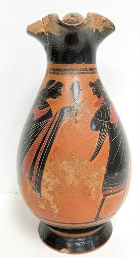 Circa 1890s large ceramic  manner of ancient Etruscan
